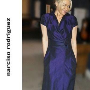 Narciso Rodriguez taffeta purple dress 44